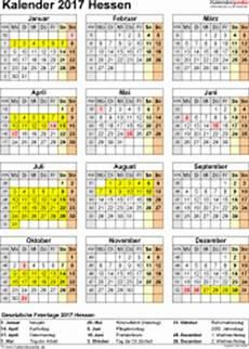Kalender 2017 Hessen Ferien Feiertage Excel Vorlagen