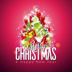 vector merry christmas illustration shiny background with typography and holiday light