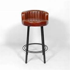 Tabouret De Bar Industriel Gt S37a Aspect Cuir Made In