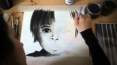 painting portrait watercolor black and white youtube