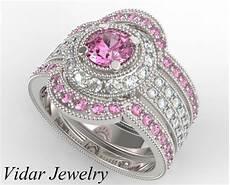 filigree pink sapphire and diamond trio wedding band vidar jewelry unique custom