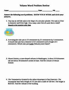 volume word problems worksheets with answers 11170 volume word problem review by 6th 9th grade math tpt