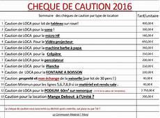 cheque de caution tarifs casse perte et caution 2016 comit 233 des f 234 tes