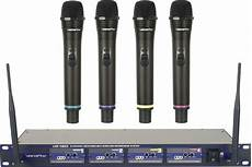 cordless microphone system vocopro uhf 5805 4 channel rechargeable handheld wireless microphone system 614 mhz 694 mhz