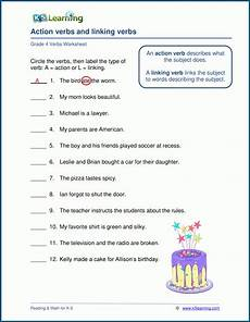 action linking verbs worksheets k5 learning