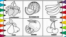 fruits drawing and coloring page for learn