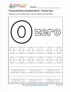 tracing numbers and number words number 0