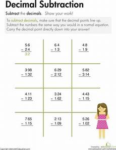 5th grade math worksheet adding and subtracting decimals decimal subtraction worksheet education