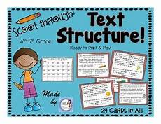 text structure scoot task card review game 4th 5th grade