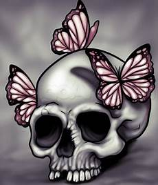 How To Draw A Skull And Butterflies Step By Step Skulls