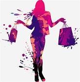 Cartoon Drawing Fashion Shopping Girl Silhouette