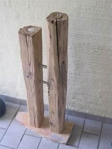 deko objekte teelichthalter aus zwei alten balken ein