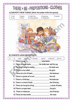 there is there are prepositions clothes esl worksheet by sandramendoza