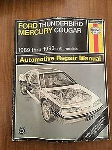 car repair manuals online free 1989 mercury cougar electronic toll collection haynes ford thunderbird and mercury cougar repair manual 1989 1993 ebay