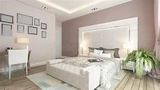 A 3d Rendering Of Modern Bedroom With Pink Wall Stock