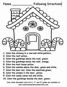 free printable following directions worksheets for kindergarten 11822 free gingerbread house for a following directions activity more december units for k 1st and