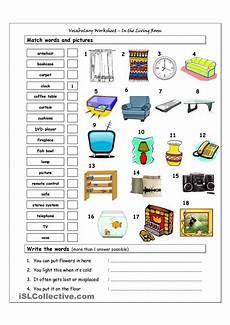 worksheets rooms 19037 vocabulary matching worksheet in the living room bahasa inggris bahasa anak