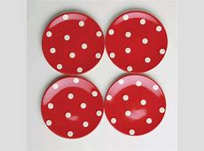 Polka Dot Appetizer Plates, Set of 4   Contemporary