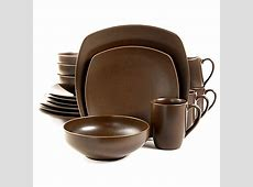 Gibson Paradiso 16 Piece Square Dinnerware Set in Brown