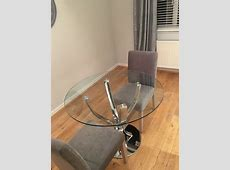 Next Round Glass Tulip Dining Table   in Paisley