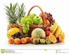 Composition With Assorted Fruits In Wicker Basket Stock