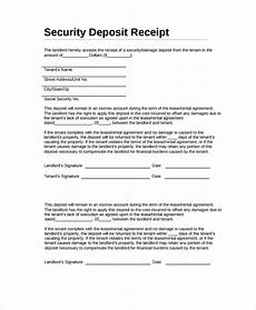 sle security deposit receipt 8 free documents download in word pdf
