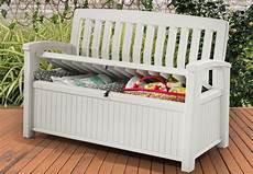 chalet jardin boutique coffre banc en rsine blanc 227l