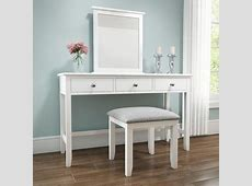 Harper White Solid Wood Dressing Table Set   Furniture123