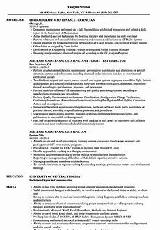resume sle for ojt aircraft maintenance airplane technician cover letter may 2020