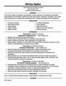 truck driver resume sle resume exles