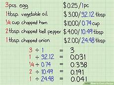 how to cost a recipe 11 steps with pictures wikihow