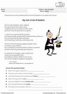 poem worksheets for grade 4 25551 comprehension my hat is of rabbits