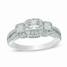 1 ct t w princess cut diamond frame three stone vintage style engagement ring in 14k white