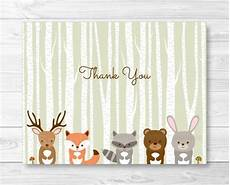 recipe card template deer woodland forest animals folded thank you card template