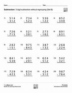 grade 3 math worksheet addition and subtraction 3 digit subtraction worksheet no regrouping no