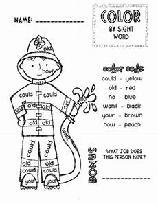 firefighter community helper color by sight word freebie by ramsay