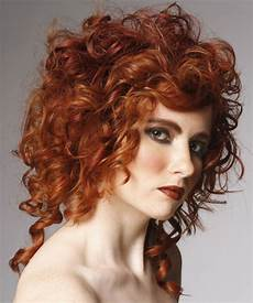 medium curly formal hairstyle ginger red hair color