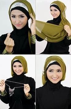Cara Memakai Jilbab Segi Empat Elegan