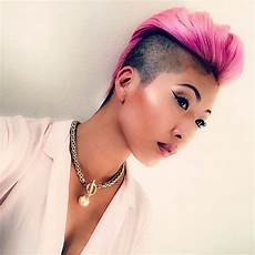 bright pink shaved hairstyles for women