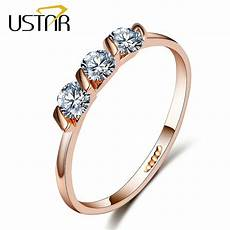 aaa cz diamond wedding rings for women rose gold plated engagement rings female anel austria
