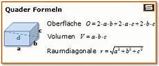 quader formel volumen fl 228 che oberfl 228 che mathematik