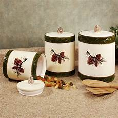 rustic kitchen canister sets pine cone rustic kitchen canister set canisters