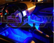 glowing interior ledglow 4pc blue underbody underglow car led neon kit w