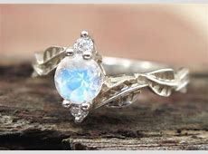 Moonstone Engagement Ring Moonstone Leaf Engagement Ring
