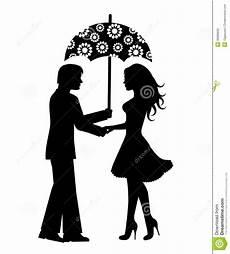Le Frau Mit Schirm - silhouettes des hommes et des femmes sous le parapluie