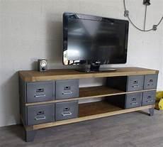 industriel meuble tv m 233 tal et bois tiroirs en 2019