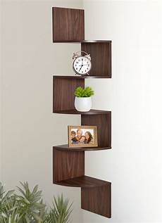 wooden wall mount corner shelf wood zig zag furniture book