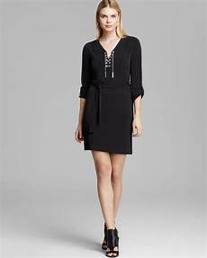 lyst michael michael kors chain lace up dress in black