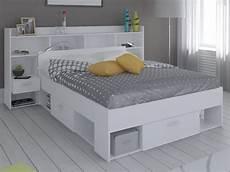 lit t 234 te de lit kylian rangements tiroirs 140x190cm blanc