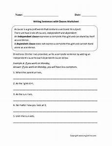 writing sentences with clauses worksheet complex